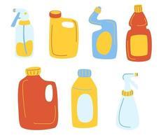 garrafas de detergentes conjunto de desenhos animados de vetor. produtos de limpeza materiais de limpeza para casa, uso doméstico. vetor