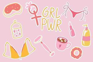 patches de festa para meninas da moda pop art, adesivos coloridos. Coisas para meninas, como maquiagem, batom, máscara para dormir, caneca de café, roupas íntimas, donut, poder feminino. vetor