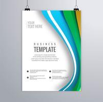 Design de brochura de negócios ondulado colorido abstrato vetor