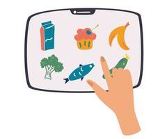 smartphone com aplicativo de pedido de produto na tela, mão segurando um tablet. pessoa tocando na tela para entregar comida. vetor