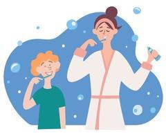 família escova os dentes. ilustração em vetor de mãe e filho escovando os dentes juntos. higiene bucal.