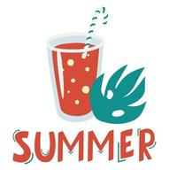 coquetel de verão com tubo e folha de palmeira. letras de verão. cartaz de verão bonito. ícone de coquetel. vetor