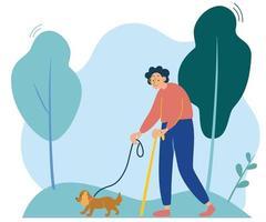 uma senhora idosa está caminhando com um pequeno cachorro passear na natureza feliz proprietário com a avó do animal de estimação caminhando com o cachorro vetor