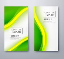 Bandeiras onduladas verdes abstratas definir vetor de design de modelo