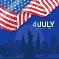 marco da américa com bandeira vetor