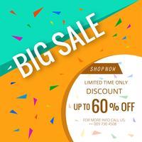 Banner de venda grande fundo de modelo de cartaz colorido bonito vetor
