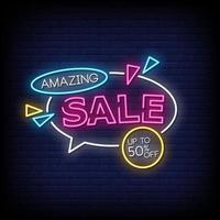 incrível venda de vetor de texto de estilo de sinais de néon