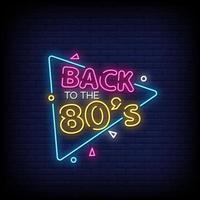 de volta ao vetor de texto de estilo de sinais de néon dos anos 80
