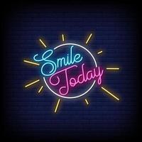 sorria hoje vetor de texto de estilo de sinais de néon
