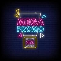 Vetor de texto de estilo de sinais de néon mega promo