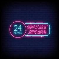 vetor de texto de estilo de sinais de néon de notícias de esporte