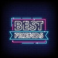 melhores amigos sinais de néon estilo texto vetor