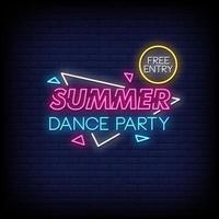 verão dança festa sinal de néon estilo texto vetor