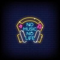sem música, sem vida, sinais de néon, estilo, vetor de texto