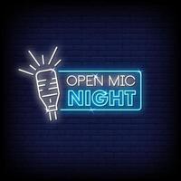 vetor de texto de estilo de sinais de néon noturno de microfone
