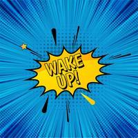 Despertar pop art em quadrinhos de fundo vector