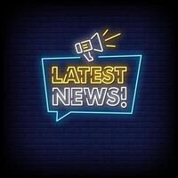 últimas notícias vetor de texto de estilo de sinais de néon