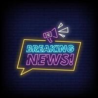 notícias de última hora sinais de néon estilo texto vetor