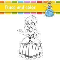 traço e cor - princesa vetor