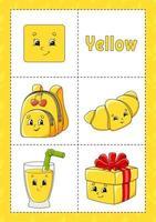 aprendendo cores flashcard para crianças - amarelo vetor