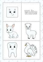 aprendendo cores flashcard para crianças - branco vetor