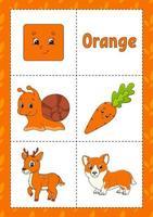 aprendendo cores flashcard para crianças - laranja vetor