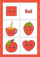aprendendo cores flashcard para crianças - vermelho vetor