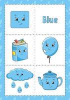 aprendendo cores flashcard para crianças - azul vetor