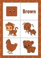 aprendendo cores flashcard para crianças - marrom vetor