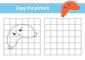 copie as páginas do livro de colorir para crianças - salsicha vetor