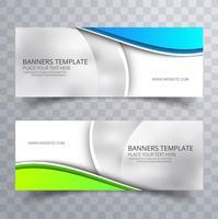 Bandeiras onduladas elegantes coloridas modernas conjunto de design de modelo vetor