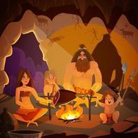 ilustração em vetor homem das cavernas família cartoon
