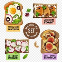 ilustração vetorial conjunto de sanduíches vetor