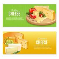 ilustração vetorial de banners horizontais de queijos realistas vetor