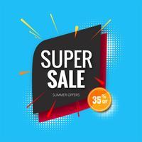 Super venda banner, venda cartaz banner modelo fundo illust vetor