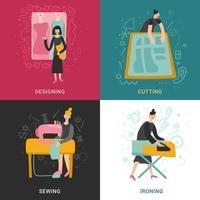 ilustração em vetor design conceito 2x2 fábrica de roupas