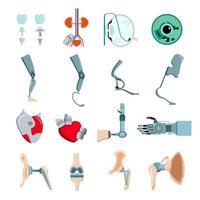 ilustração vetorial de conjunto plano de implantes de prótese vetor