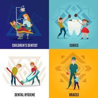 Conjunto de conceitos de odontologia pediátrica ilustração vetorial vetor