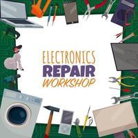 ilustração vetorial de cartaz de conserto de eletrônicos vetor