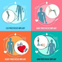 ilustração em vetor prótese implantes conceito plano