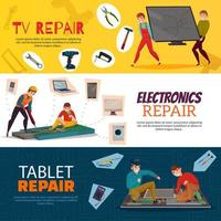 banners de reparo de eletrônicos definir ilustração vetorial vetor