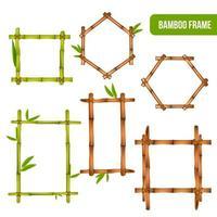 ilustração em vetor conjunto realista de armações de bambu