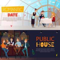ilustração vetorial conjunto de banner horizontal de visitantes de pub de restaurante vetor