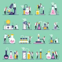 ilustração do vetor ícones lisos do laboratório de ciências