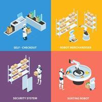 ilustração em vetor conceito isométrico de lojas automatizadas