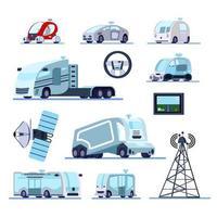 ilustração vetorial conjunto de veículos autônomos sem motorista vetor