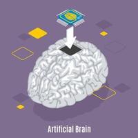 ilustração vetorial de fundo de implantação de sensor cerebral vetor