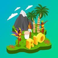 ilustração em vetor conceito isométrico carnaval brasileiro