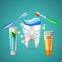 ilustração em vetor dente dentário realista