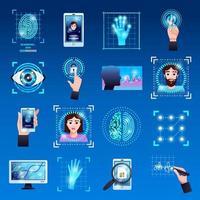 conjunto de ícones de tecnologias de identificação ilustração vetorial vetor